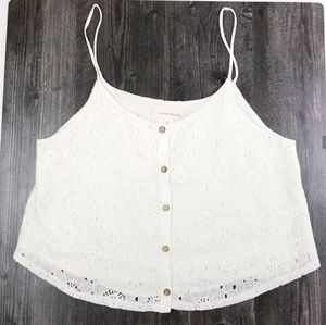 Womens Painted Threads White Lace Tank Size M